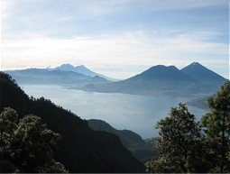 Lake Atitlán with mountains