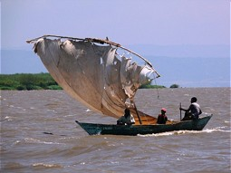 Sailing boat at Lake Victoria