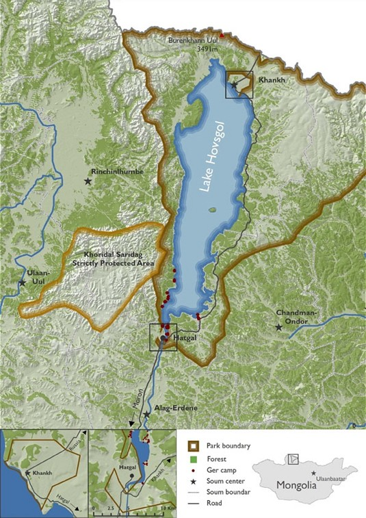 Map of the Lake Hovsgol National Park