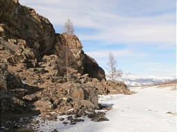 Landscape in winter at Lake Baikal