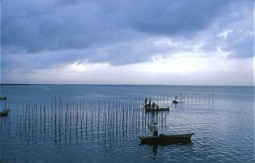 Fishermen on Lake Albufera in Spain