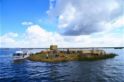 Swimming island of the Urus on Lake Titicaca