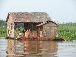 Swimming house on the Lake Tonle Sap
