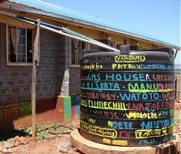 Colorful tank for the clan drinking water in Kenya