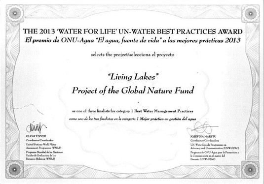 UN Water Award Zertifikat