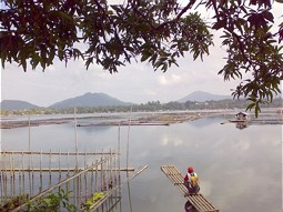 Floating fish cages in Lake Sampaloc